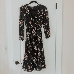 Floral Pleated Wrap Dress